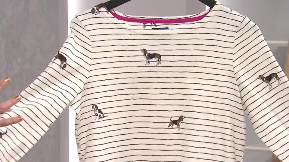 ac6affefdc Joules Printed Harbour Top with 3 4 Sleeve - QVC UK
