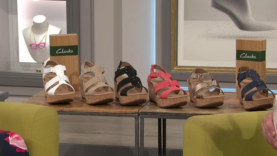 1904e0dc7fd5 Clarks Annadel Orchid Cushion Soft Wedge Sandal Wide Fit. Back to video. On-Air  Presentation