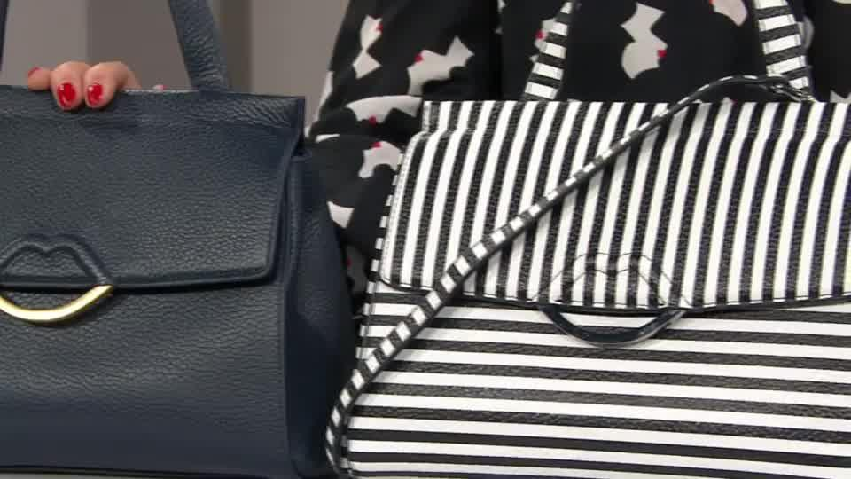 Lulu Guinness Gertie Medium Leather Bag with Crossbody Strap. Back to  video. On-Air Presentation 743e74f5364a2