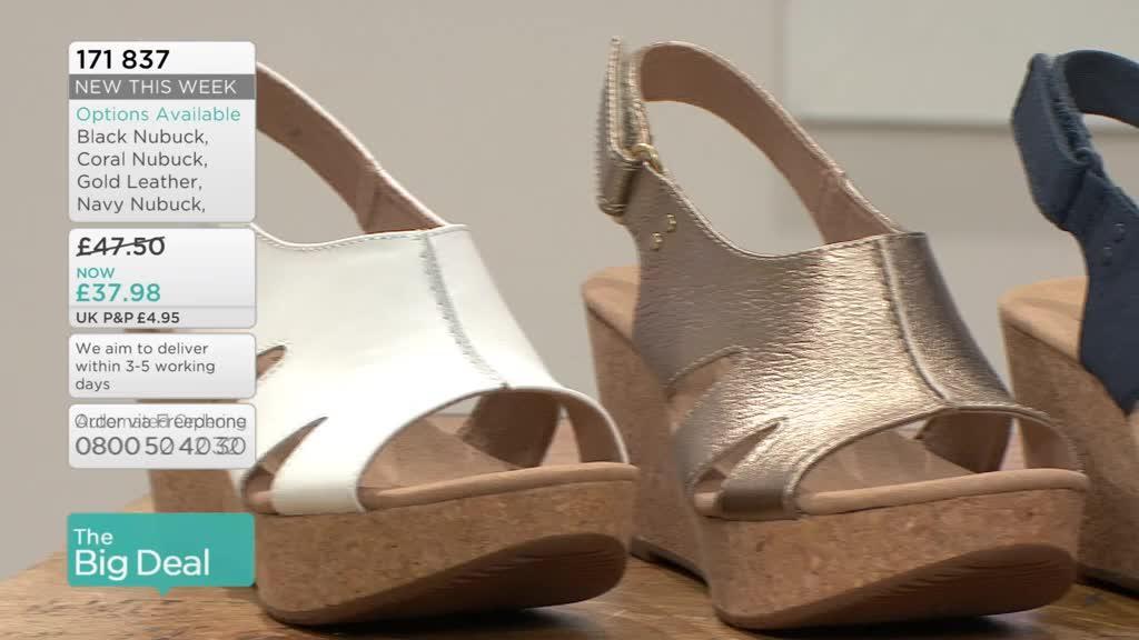 760dd4d7664 Clarks Annadel Bari Wedge Sandal Wide Fit - QVC UK