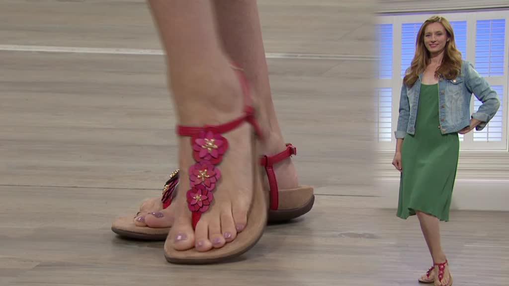 384833831e72 Vionic Orthotic Rest Paulie Floral Detail Leather Sandal w  FMT ...