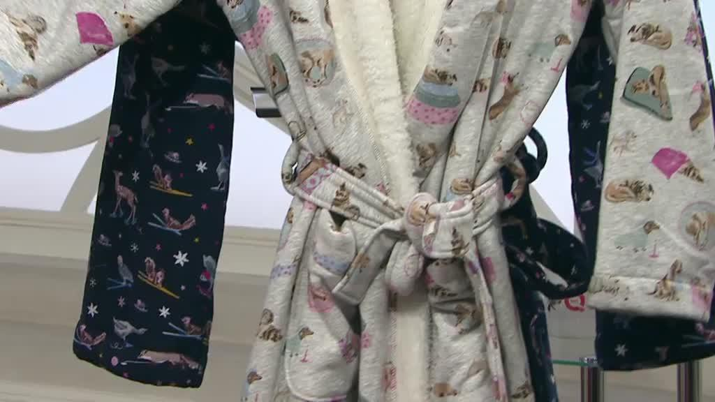 b73945b262 Joules Idlewhile Fleece Inner Jersey Dressing Gown. Back to video. On-Air  Presentation