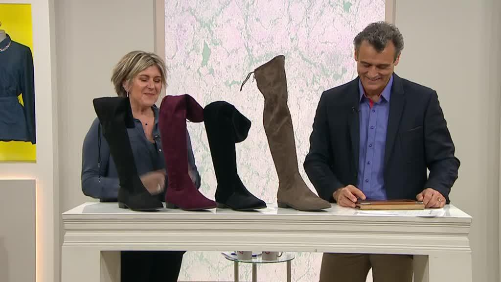 b7862b7b9af Marc Fisher Hulle Over The Knee Fabric Boot with Flat Heel. Back to video.  On-Air Presentation