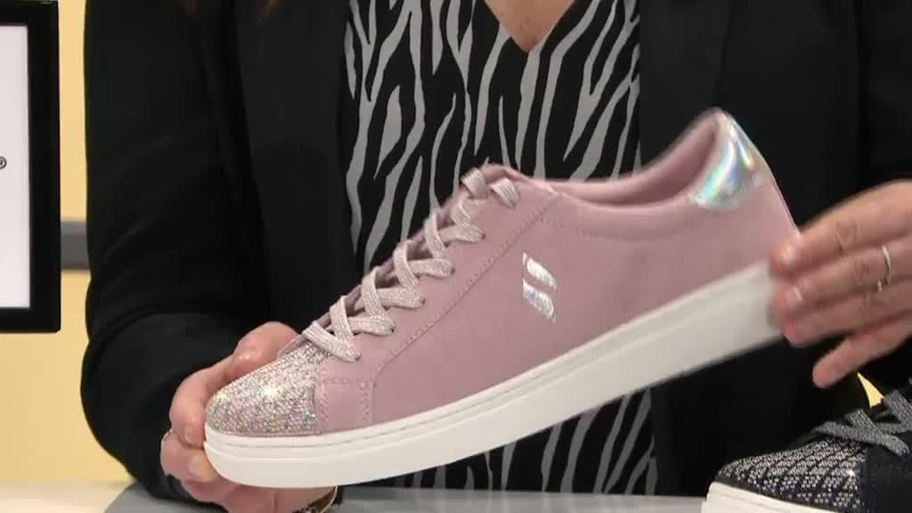 Skechers Street Suede And Sparkle Lace Up Trainer QVC UK