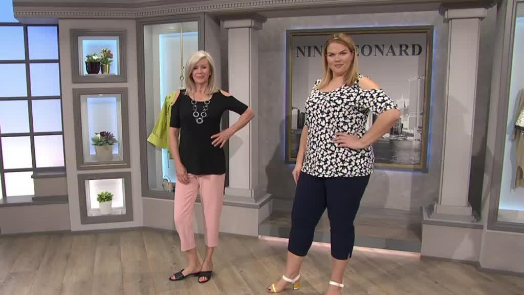 2255c5c37e9322 Pack of 2 Plain   Printed Cold Shoulder Tops by Nina Leonard. Back to  video. On-Air Presentation