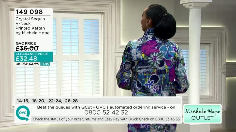 Crystal Sequin V-Neck Printed Kaftan by Michele Hope - QVC UK